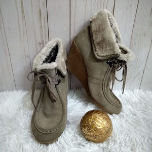 Sonoma Taupe Wedge Booties Boots 9 M